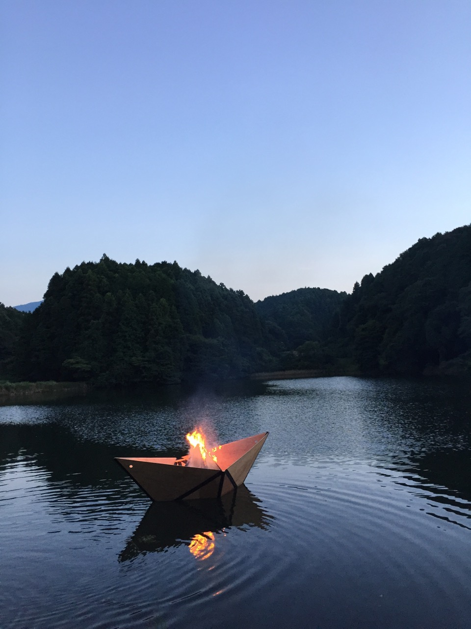 Burning Boat at Dusk